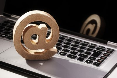 E-mail symbol on a laptop computer keyboard